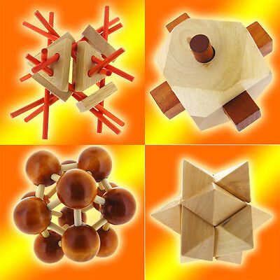 4In1 Value Pack Of Wood Puzzle Dutch Gyro   Flash Star   Atom Ball   Branch Out