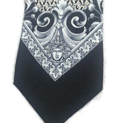 "Gianni Versace Silver Black Medusa Head Silk Tie  56"" 3.75"""