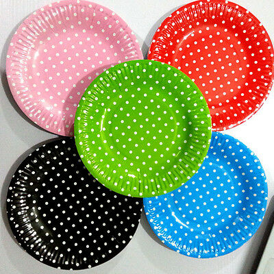10pcs 7inch Dot Paper Plates Party Time Festival Holiday Supply Disposable Plate - 7 Inch Paper Plates