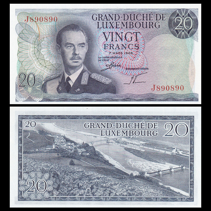 Luxembourg 20 Francs, 1966, P-54, banknote, UNC
