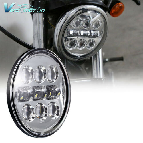 "1x Motorcycle 5-3/4"" 5.75"" Round LED Headlight Projection Chrome High Low Beam"