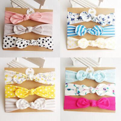 Baby Toddler Head Wrap Adjustable Bunny Ears Floral BowKnot Hair Band Headwear