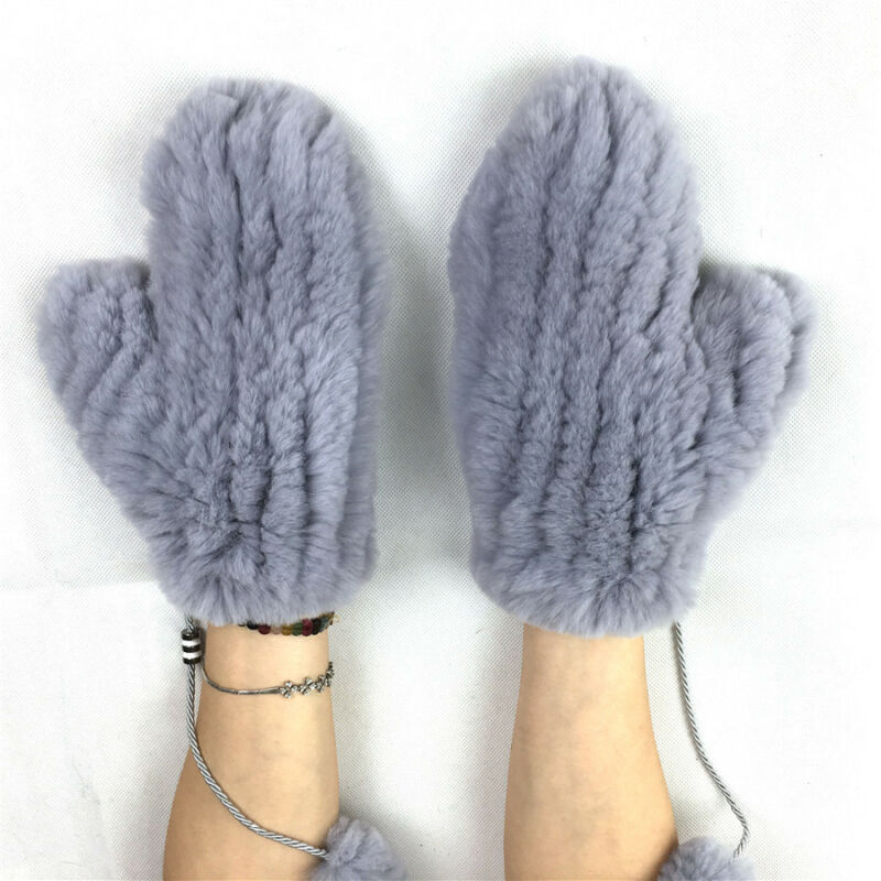 Women Real Rex Rabbit Knitted Fur Stretchable Mittens Gloves Removable String