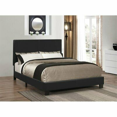 Coaster Upholstered Queen Platform Bed in Black