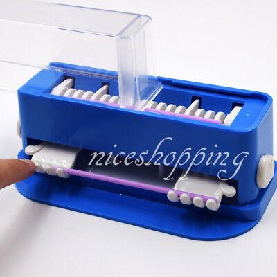 1xdental Brush Dispenser Holder Container Cotton Tip Micro Brush Microfiber Blue
