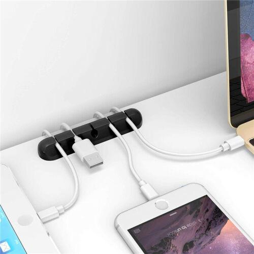 USB Kabelhalter Silikon Kabel Organizer Flexible Winder Management Clips Halter