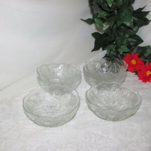6 VINTAGE CLEAR GLASS DESSERT BOWLS ROSE PATTERN