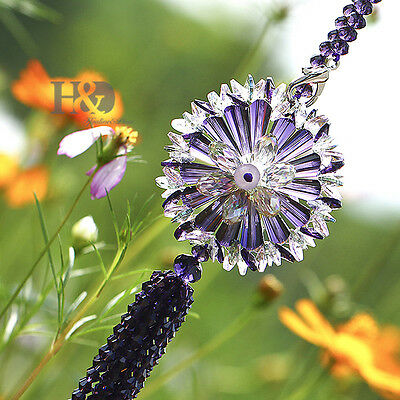 Purple Crystal Hanging Sun Catcher Fengshui Prism Pendant Wedding Gift Car Decor
