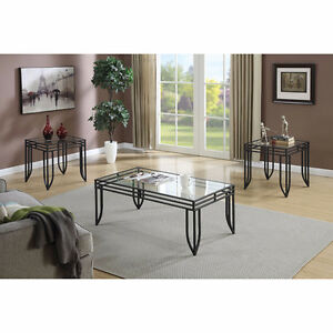 Vera Contemporary Coffee Table and End Table - Black