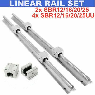 2PCS SBR12 SBR16 SBR20 Linear guide Set + 4x SBR12/16/20/25UU Linearblocks Set