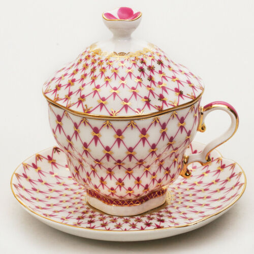 250 ml Imperial Porcelain Net Blues Teacup with a Lid and Saucer Set LFZ IFZ