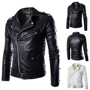 hombre-chaqueta-de-Motero-PU-Sintetico-cuero-Moto-Acolchado-Negro-Abrigo