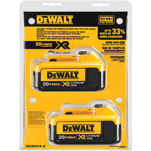 NEW! DeWALT 20V 4AH Baterry Twin/Double Pack With Fuel Gauge