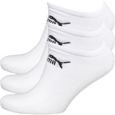 3 Pair Puma Sports Socks White Invisible Sneakers No Show Ankle Socks Mens 6-11