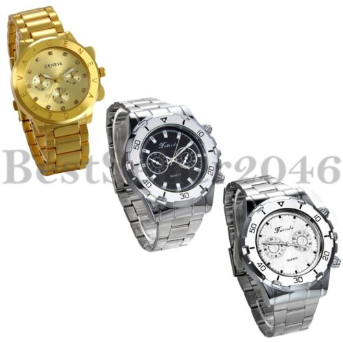 $10.99 - Luxury Men's Watch Stainless Steel Band Quartz Analog Sport Wrist Watch Gift
