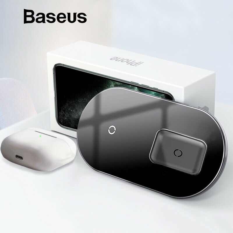 Baseus Qi Wireless Charger For Airpods Pro iPhone 15W Dual W
