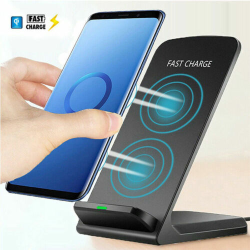 2 Coils Fast QI Wireless Charger Charging Stand Dock For Sam