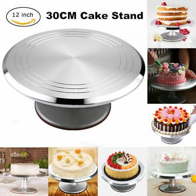 360°drehbar Tortenplatte Edelstahl Tortenständer  Kuchenplatte Fondant Ø 31cm