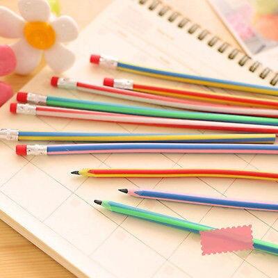 Flexible Pencils (10pcs Magic Bendy Flexible Soft Pencil with Eraser Colorful Cute Student)