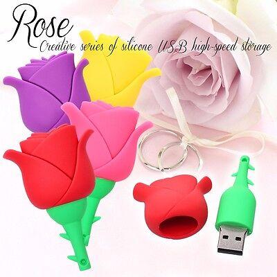 3D Beautiful Rose model USB 2.0 Memory Stick Flash pen Drive 4GB - 512GB HUSB84