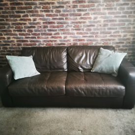 Stunning DFS brown leather sofa bed