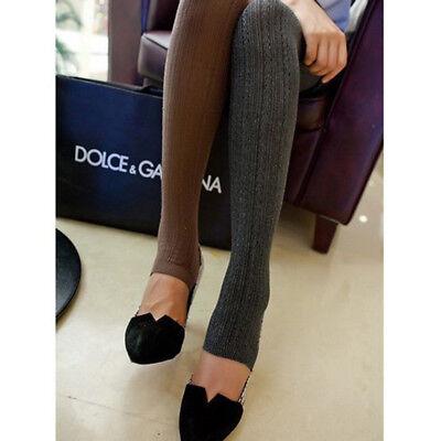 Frauen Winter Zopfmusterpullover Fuß Enge Warme Stretch Strumpfhose Yd