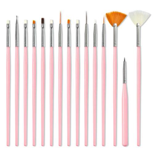 15Pcs Nail Pens UV Gel Design Painting Art Brush Set for Salon Manicure DIY Tool