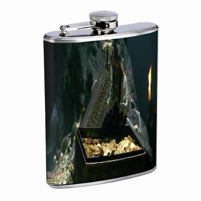 Pirate Treasure D5 Flask 8oz Stainless Steel Hip Drinking - Pirate Flask