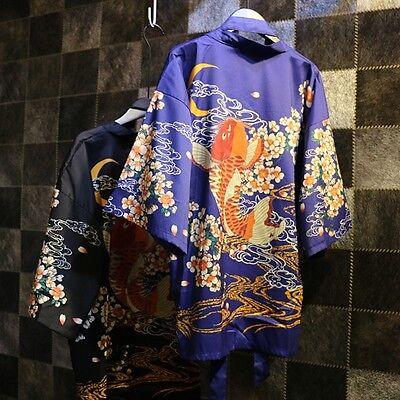 Fish Fancy Dress Costumes (Womens Japanese Kimono Coat Loose Matsuri Yukata Outwear Tops Fancy Dress)