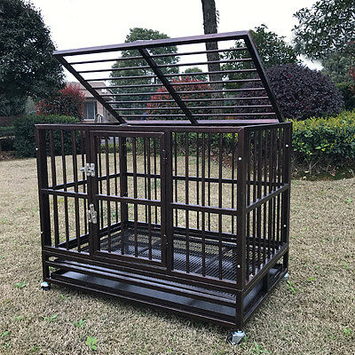 "XL 37"" Heavy Duty Dog Cage Crate Kennel Metal Pet Playpen Portable w/ Tray NEW"