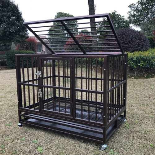 """XL 37"""" Heavy Duty Dog Cage Crate Kennel Metal Pet Playpen Portable w/ Tray NEW"""