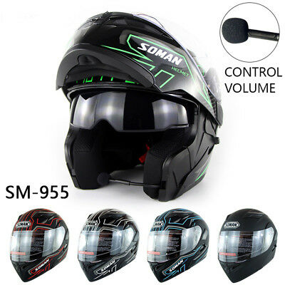 Double Helmet - Bluetooth Headset Double Visor Flip Up Helmet Motorcycle Helmets Motorbike DOT