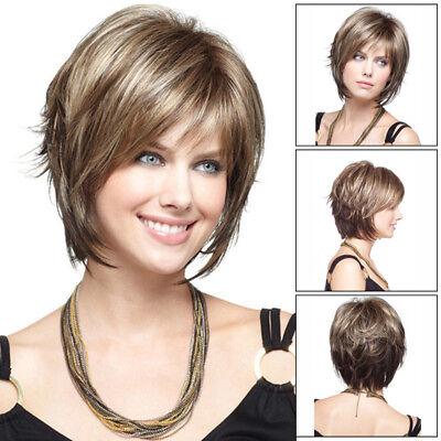 Frauen hellbraun kurze lockige Perücke synthetische welliges Haar Perücken NEU (Hellbraun Synthetische Perücke)