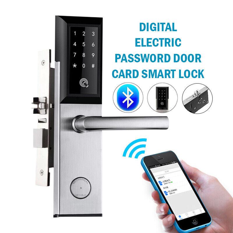 Bluetooth Digital WiFi Remote Smart Door Lock Cell Phone App Key Password Cards