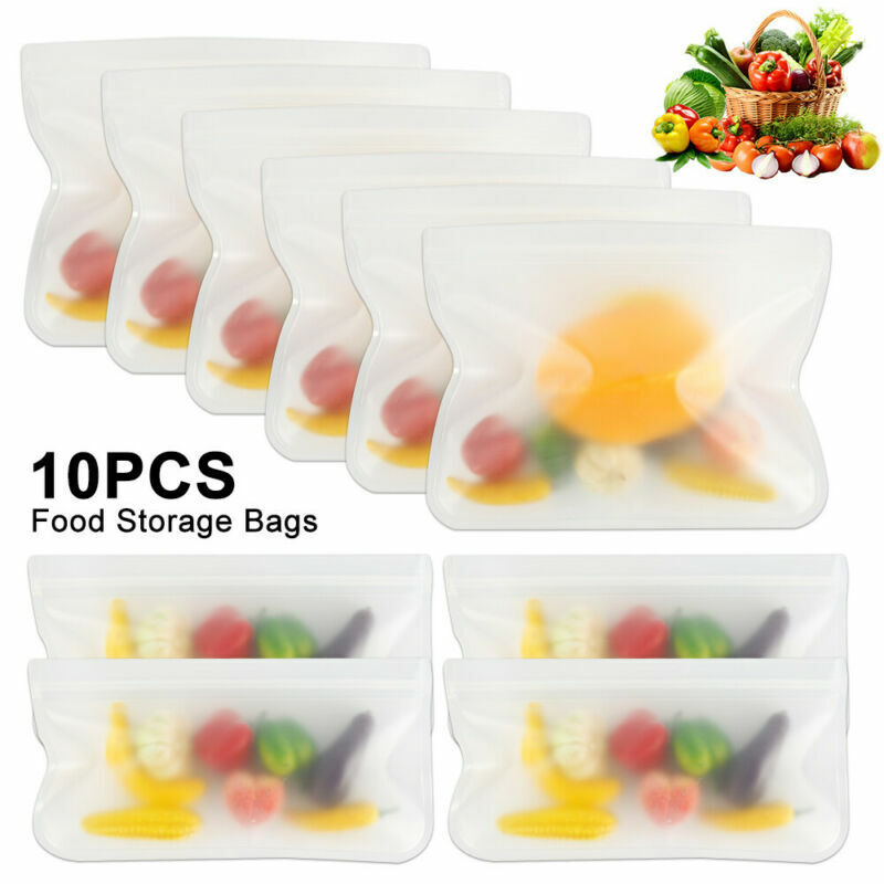 10X Fresh Zip lock Bag Reusable Silicone Food Freezer Storag