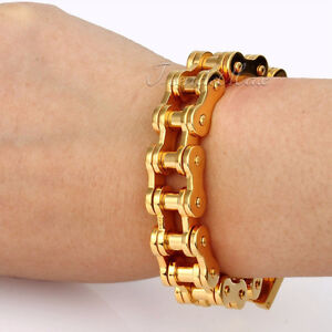 15-MM Anodized Gold - Stainless Steel Motorcycle Chain Bracelet