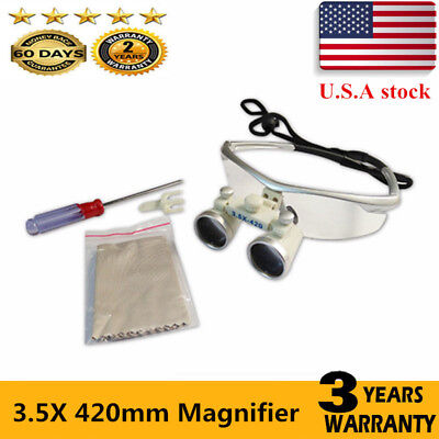 3.5x 420mm Dental Surgical Binocular Loupes Optical Magnifier Glass Lens Usa