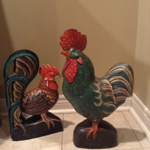 decor rooster and hen $49