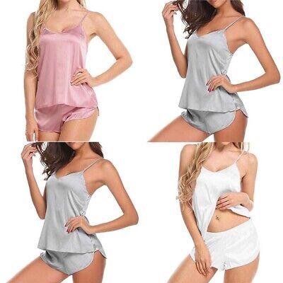 Sleepwear Casual Shorts Set Pajama Babydoll Solid Cami Satin Sexy Women -