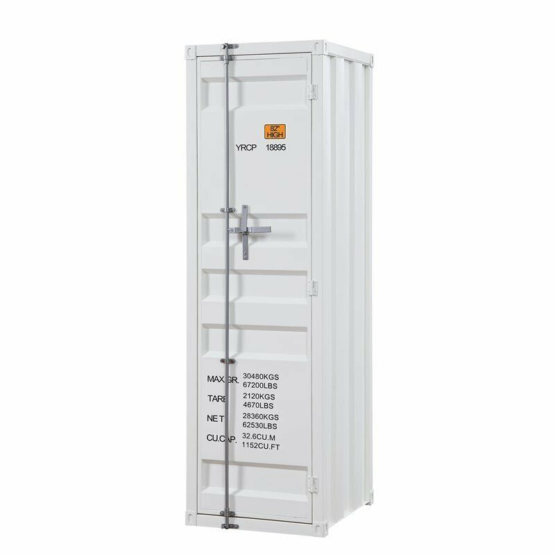 Bowery Hill Contemporary Wardrobe Armoire with 1 Door in White