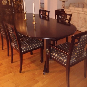Japanese lacquered dining room set & 3 lamps