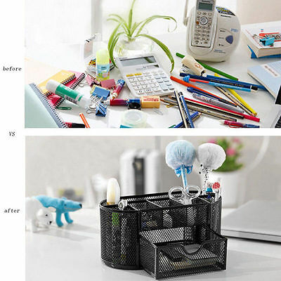 Desk Organizer Mesh Metal Desktop Office Pen Pencil Holder Storage Tray Drawer