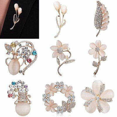 Flower Costume Jewelry - Women Crystal Wedding Flower Brooch Pin Jewelry Costume Badge Party Charm Gift