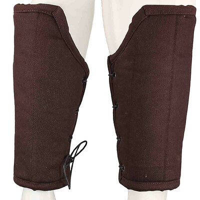 Medieval Renaissance Arm Padded Cloth Armor Knights Bracers - Brown - Medieval Clothing