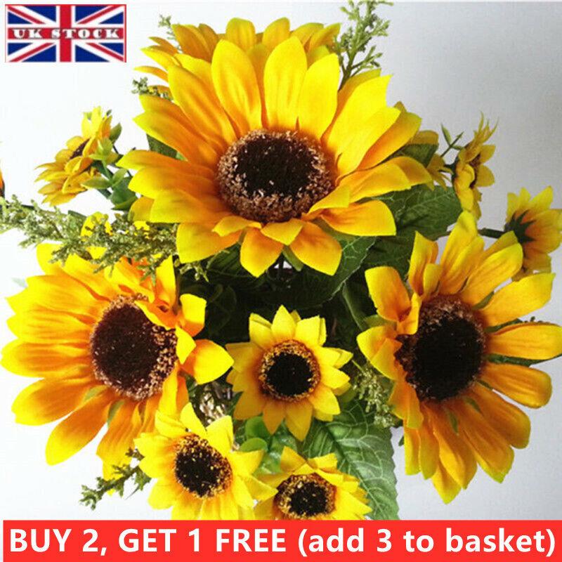Home Decoration - 7 Heads Artificial Sunflowers Fake Flowers Floral Bouquet Home Garden Shop Decor