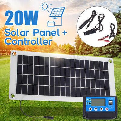 20W 12V Solar Panel + Solar Battery Charger Controller Regulator For Car Boat