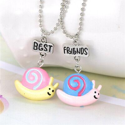 2PCS/Lot Best Friends Cartoon Snail Pendant Necklaces For Children BFF (2 Best Friends Cartoon)