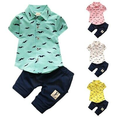 Newborn Toddler Baby Boy Summer Gentleman Outfits Clothes Pants+Shirt Tops Set