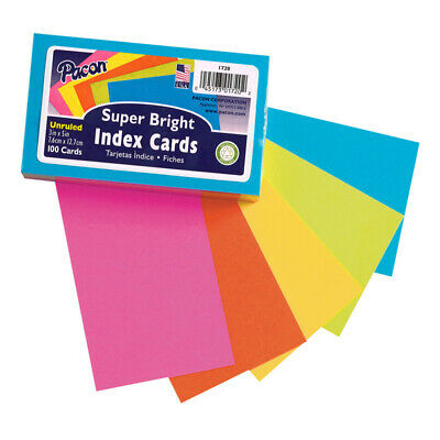 Index Cards 5 Super Bright Assorted Colors Unruled 3 X 5 100 Cards
