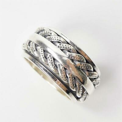 - Sterling Silver Textured Tire Pattern Men 12mm Wide Spinner Ring 9.25 9.5 10